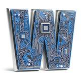 Letra W Alfabeto en estilo de la placa de circuito Lett de alta tecnología de Digitaces imagen de archivo