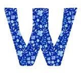 letra W de la acuarela con un modelo de flores y de hojas libre illustration