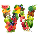Letra W integrado por diversas frutas con las hojas ilustración del vector
