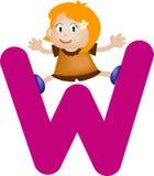 Letra W (muchacha) del alfabeto Imagen de archivo libre de regalías