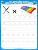 Letra X de la práctica de la escritura Fotografía de archivo libre de regalías