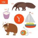 Letra Y Alfabeto dos desenhos animados para crianças Io-io, iaque, iate, yogu Foto de Stock