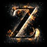 Letra Z del fuego Imagenes de archivo