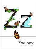A letra Z do cartão flash é para o zoologia Foto de Stock Royalty Free