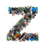 Letra Z feita de componentes eletrônicos fotografia de stock royalty free
