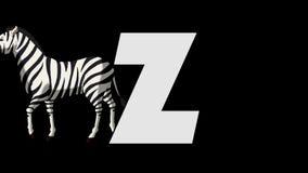 Letra Z y cebra (fondo) almacen de video