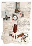 Letras, accesorios y postales viejos Imagen de archivo libre de regalías