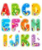 Letras ajustadas A do alfabeto - L ilustração stock