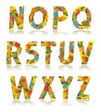Letras ajustadas N do alfabeto do outono - Z ilustração stock