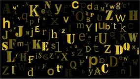 Letras aleatórias de queda, projeto bonito do fundo do alfabeto ilustração royalty free