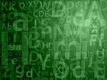 Letras aleatórias verdes Ilustração Stock