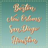 Letras americanas del vector de la ciudad Tipografía, los E.E.U.U. - Boston, New Orleans, San Diego, Houston en fondo azul rayado ilustración del vector