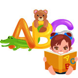 Letras animales del ABC para la educación del alfabeto de los niños de la escuela o de la guardería Imagen de archivo libre de regalías