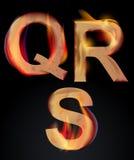 Letras ardentes do alfabeto, QRS Imagens de Stock