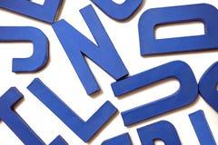 Letras azules Foto de archivo libre de regalías