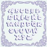 Letras azules brillantes del alfabeto latino, con la imitación del volumen stock de ilustración