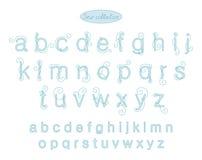 Letras azules claras del bordado del color de la elegancia Imágenes de archivo libres de regalías