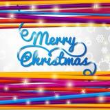 Letras azules manuscritas del remolino de la Feliz Navidad Fotos de archivo libres de regalías