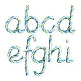 Letras A, B, C, D, E, G, G, H, I Vetor letra realística do ano novo da cor de Cane Alphabet Symbol In Christmas dos doces 3D Imagens de Stock