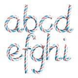 Letras A, B, C, D, E, G, G, H, I Vetor letra realística do ano novo da cor de Cane Alphabet Symbol In Christmas dos doces 3D ilustração stock