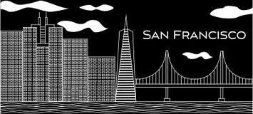 Letras blancas de San Francisco Vector con los rascacielos y puente Golden Gate en fondo negro Postal del viaje ilustración del vector