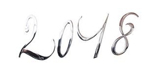 2018, letras brilhantes elegantes do metal da prata 3D isoladas no branco Fotografia de Stock