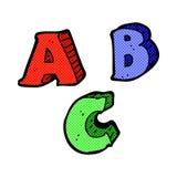 letras cómicas de ABC de la historieta Fotos de archivo