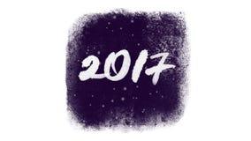 Letras caligráficas 2017 con nieve dentro de una ventana congelada libre illustration