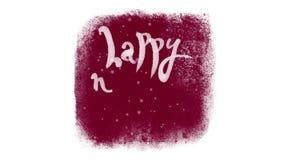 Letras caligráficas de la Feliz Año Nuevo con nieve dentro de una ventana congelada ilustración del vector