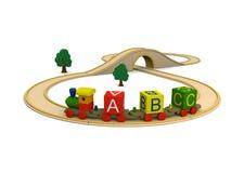 Letras carreg do alfabeto do trem de madeira do brinquedo Fotos de Stock