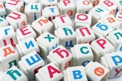 Letras cirílicas em cubos Foto de Stock