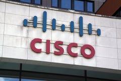 Letras Cisco en una pared Imagen de archivo libre de regalías