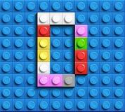 Letras coloridas D do alfabeto dos tijolos do lego da construção no fundo azul do tijolo do lego fundo azul do lego 3d rotula C R ilustração do vetor