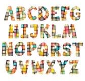 Letras coloridas engraçadas do mosaico ajustadas Imagem de Stock