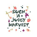 Letras coloridas lindas sobre la primera cosecha jugosa ilustración del vector