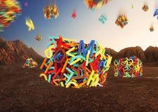 Letras coloridos aleatórias que formam cubos Fotos de Stock Royalty Free