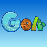 Letras coloridos dos desenhos animados com fundo, inscrição GOA Fotografia de Stock Royalty Free
