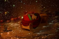 Letras completas de los niños del trineo de la Navidad, entrega del trineo de los correos de los niños Foto de archivo