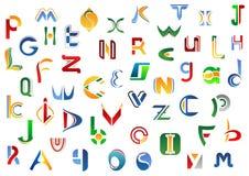 Letras completas del alfabeto fijadas Foto de archivo libre de regalías