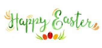 Letras con los huevos, ejemplo de Pascua de la acuarela Foto de archivo