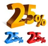 letras corajosas de um vetor 3d de 25 por cento Imagens de Stock Royalty Free