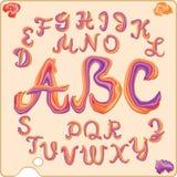 Letras cursivas latinas integradas por tres colores stock de ilustración