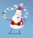 Letras da escrita de Papai Noel no telefone Imagens de Stock