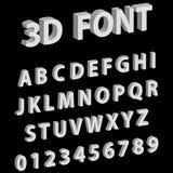 letras da fonte 3D e números do alfabeto inglês ilustração stock