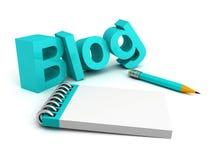 Letras da palavra de у do ³ do blogue иÐ'Ð com lápis e livro de nota Imagem de Stock Royalty Free