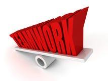Letras da palavra do conceito dos trabalhos de equipa no equilíbrio Imagem de Stock
