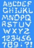 Letras das nuvens Imagens de Stock