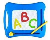 Letras de ABC a bordo aisladas en blanco Imagenes de archivo