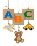 Letras de ABC en etiqueta de la cartulina Logotipo del alfabeto aislado Fotos de archivo