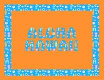 Letras de Aloha Hawaii en backround anaranjado Letras tropicales del vector con los iconos coloridos de la playa en backround azu libre illustration
